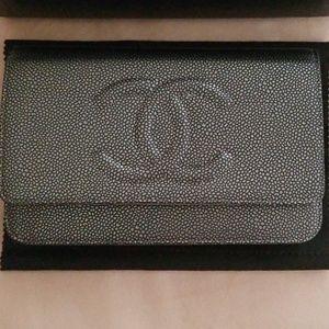 💯Authentic Rare Chanel Metallic Silver WOC-Caviar